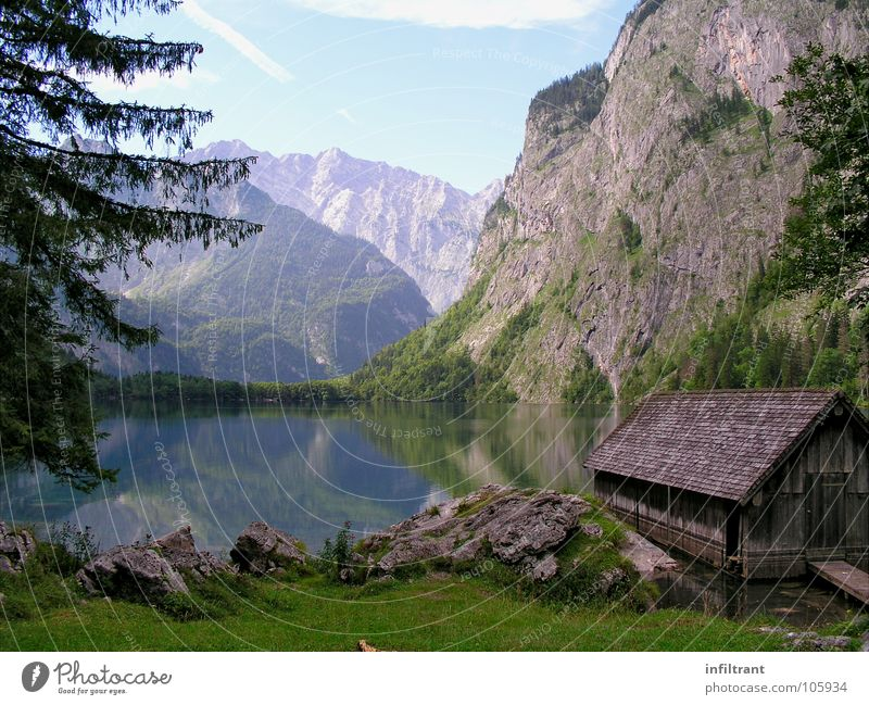 Nature Water Calm Mountain Lake Landscape Switzerland Romance Alps Hut Bavaria Lake Obersee