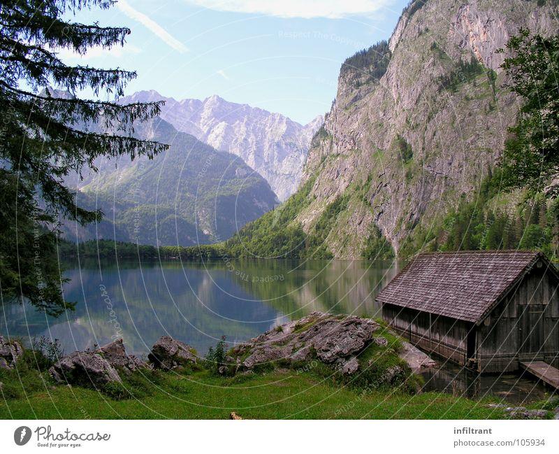 Nature Water Calm Mountain Lake Landscape Switzerland Romance Alps Hut Bavaria Lake Obersee