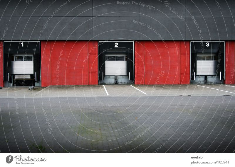 Red Work and employment Wall (building) Window Gray Building Line 2 Wait Door Free Closed Empty Industry Logistics Open