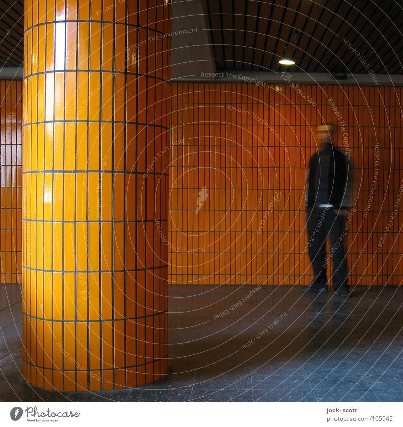 Orange Cream Joy Room Man Adults 1 Human being 30 - 45 years Charlottenburg built Architecture Wall (barrier) Wall (building) Line Movement Wait Modern Retro
