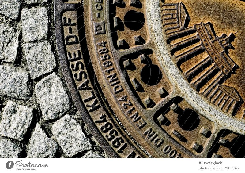 Street Berlin Metal Germany Cobblestones Gully Sewer Covers (Construction) Underground Relief Cast iron Brandenburg Gate Catacomb Public service