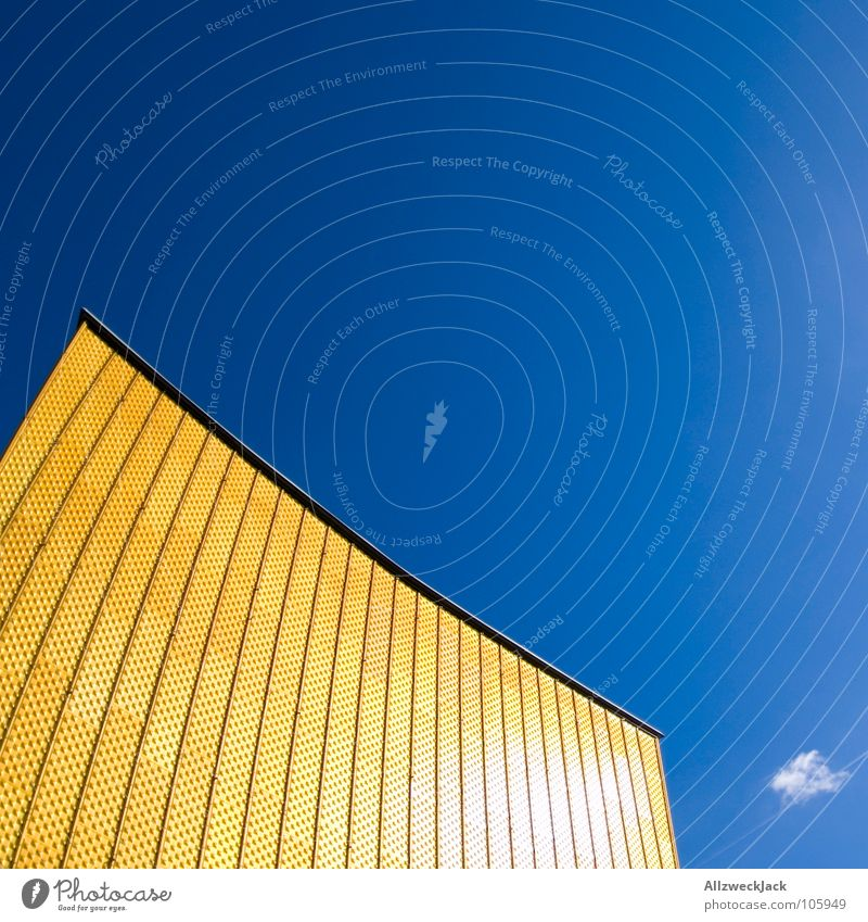 Phil's Harmony Berlin Philharmonic Culture Berlin culture forum Concert Wall (building) Facade Swing Entrance Shows Clouds Summer Yellow Detail