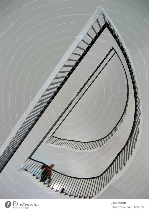 take the Stairs 1 Human being Kassel Castle Architecture Staircase (Hallway) Concrete Line Semicircle Going Exceptional Tall Modern Above Black White Moody