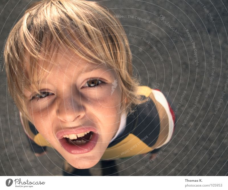 Child Summer Face Boy (child) Playing Above Wind Perspective Teeth Student Facial expression Ask Schoolchild