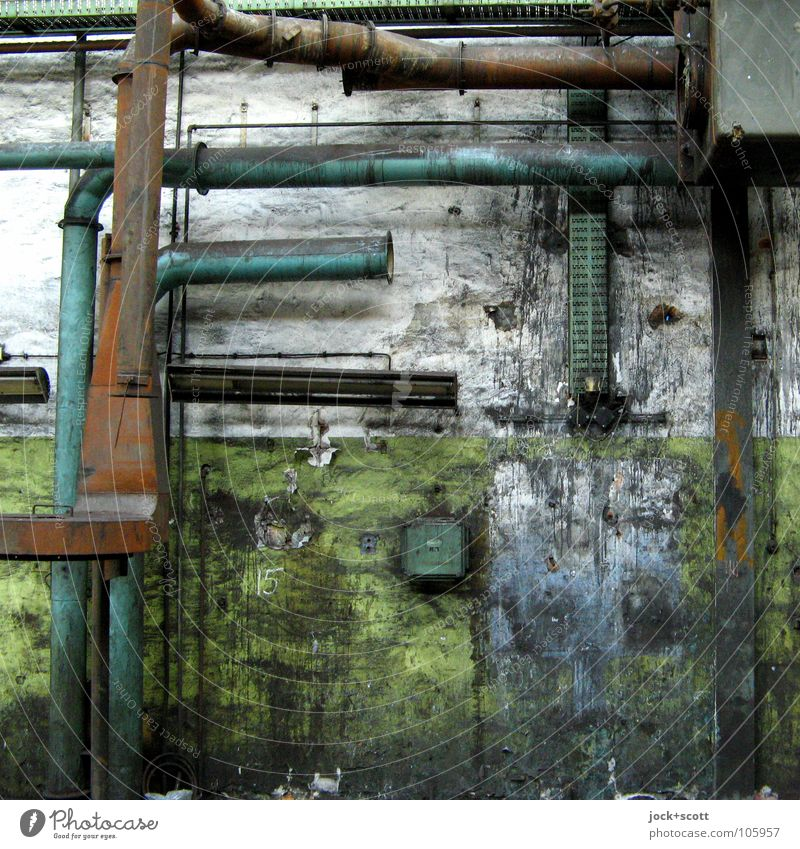abandoned and bedaub Workplace Factory Lichtenberg Building Box Metal Rust Old Dirty Broken Green Moody Calm Loneliness Modern Nostalgia Divide Change Time