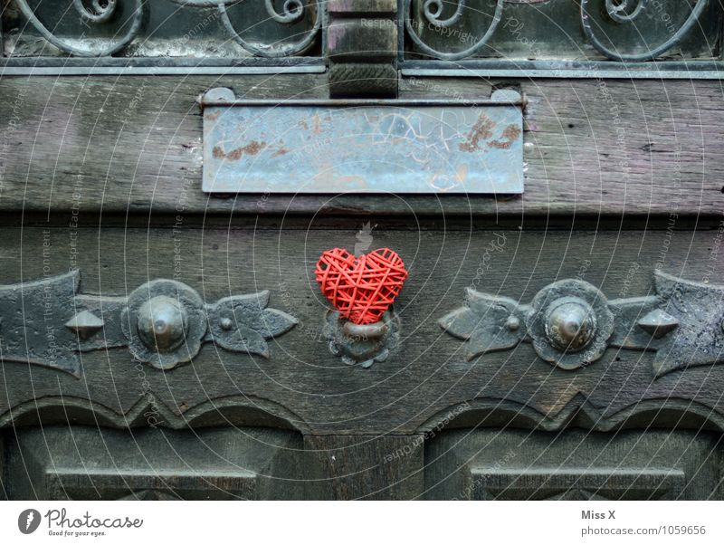 Heart in the door Decoration Door Love Kitsch Red Emotions Moody Spring fever Infatuation Romance Love affair With love Declaration of love Wrought iron Mailbox