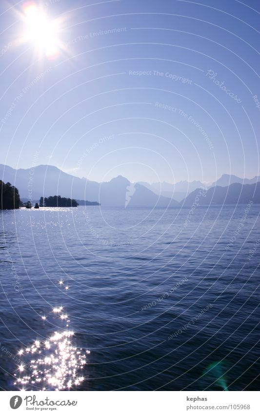 Water Sun Blue Mountain Lake Watercraft Stars Star (Symbol) Island Vantage point Switzerland Lucerne Lake Lucerne