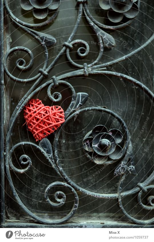 engulfments Decoration Flirt Valentine's Day Flower Rose Blossom Facade Door Kitsch Odds and ends Metal Rust Heart Red Emotions Moody Love Infatuation Romance