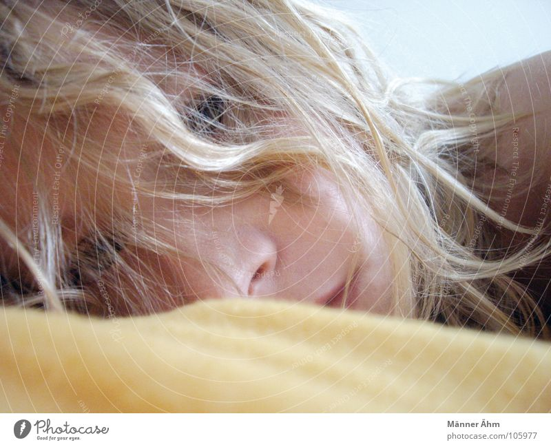 Woman Hair and hairstyles Blonde Communicate Lie Concentrate Fatigue Blanket Exhaustion Wake up Arise