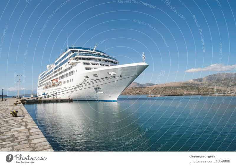 Big white cruise ship. Synny day. Luxury Relaxation Leisure and hobbies Vacation & Travel Tourism Trip Cruise Summer Ocean Sailing Sky Harbour Transport