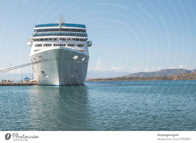 Big white cruise ship. Synny day. Sky Vacation & Travel Blue White Summer Relaxation Ocean Watercraft Leisure and hobbies Modern Tourism Transport Large Trip Harbour Luxury