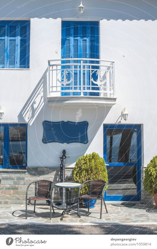 Typical Greek house. Sunny day. Vacation & Travel Old Blue Beautiful White Summer House (Residential Structure) Street Architecture Building Door Tourism Island