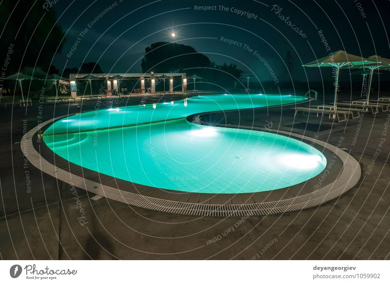 Pool, sunbeds and umbrellas at night. Night lights. Luxury Joy Beautiful Relaxation Vacation & Travel Tourism Summer Island Decoration Swimming pool Nature Sky