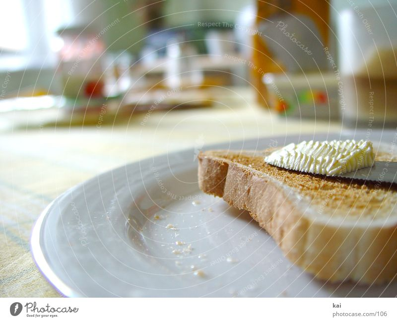 breakfast Breakfast Butter Plate Table Nutrition Toast Painting (action, work) Morning Close-up Tablecloth