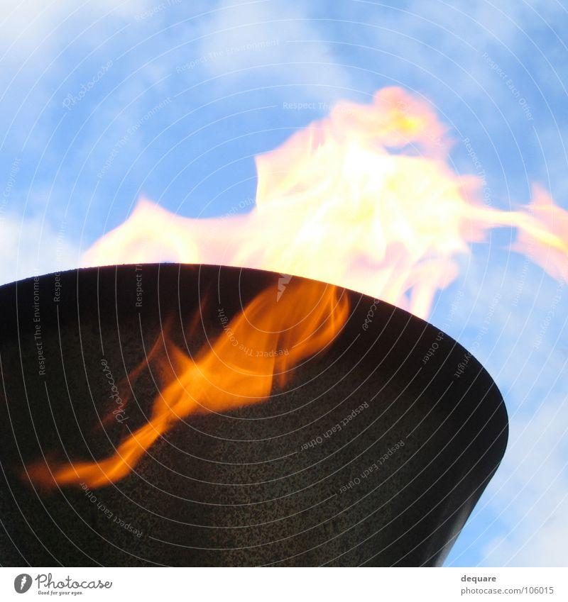 Sky Blue Clouds Lamp Warmth Bright Lighting Blaze Fire Obscure Burn Ignite