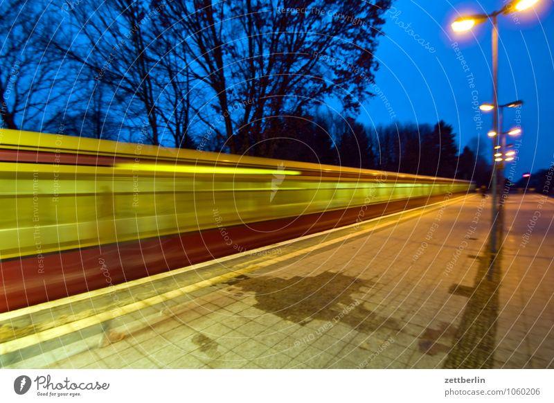 Sky Lighting Berlin Line Transport Speed Railroad Street lighting Lantern Net Haste Dusk Dynamics Train station Track Closing time