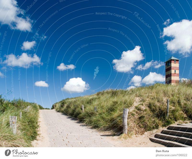Beautiful Sky Blue Summer Beach Clouds Street Grass Lanes & trails Sand Coast Going Stairs Stripe Fantastic Beach dune