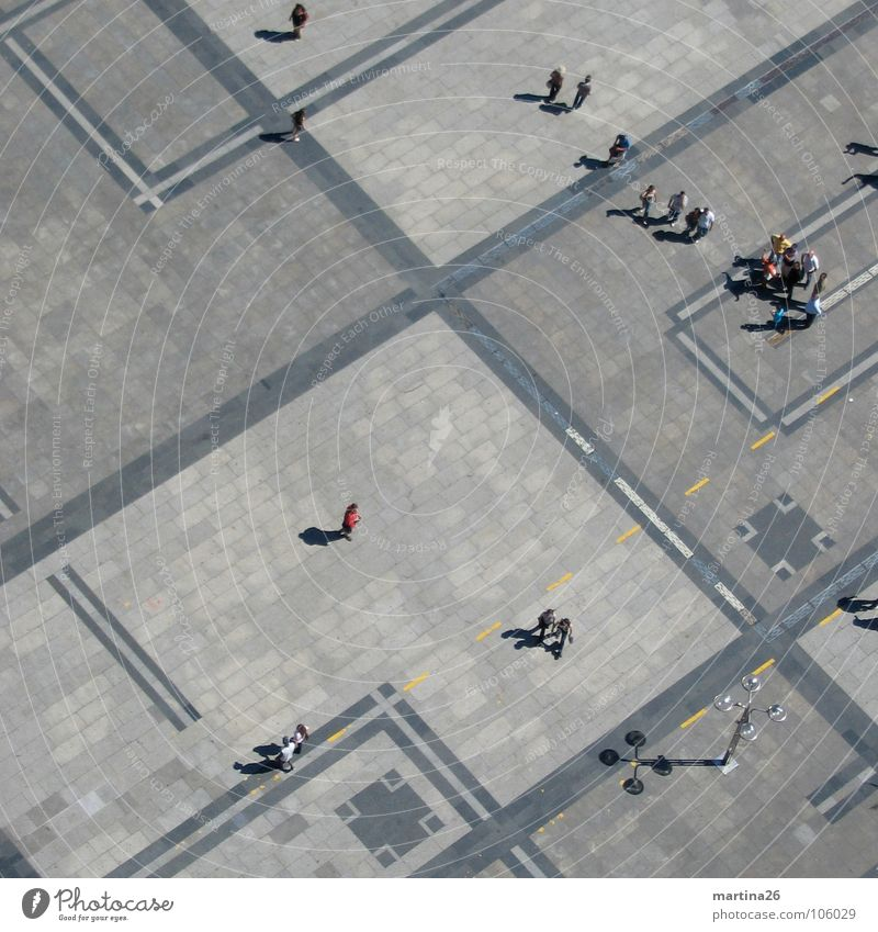 BirdPerspective Bird's-eye view Places Extensive Miniature Graphic Human being Accumulation Diagonal At right angles Gray Shadow Pattern Open Free space