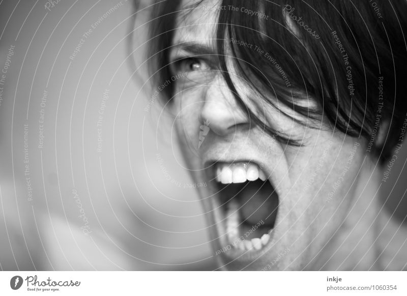 Portrait with a certain sharpness. Lifestyle Woman Adults Face Mouth Teeth 1 Human being 30 - 45 years Scream Argument Aggression Threat Near Rebellious Wild