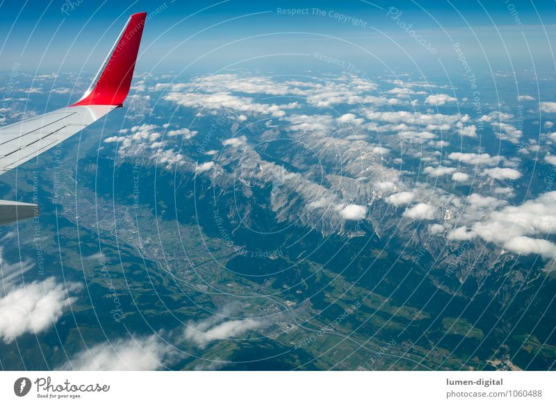 Innsbruck seen from the plane Vacation & Travel Tourism Mountain Clouds Field Alps River Village Town Airplane Flying Massive Valley Wing Zugspitze