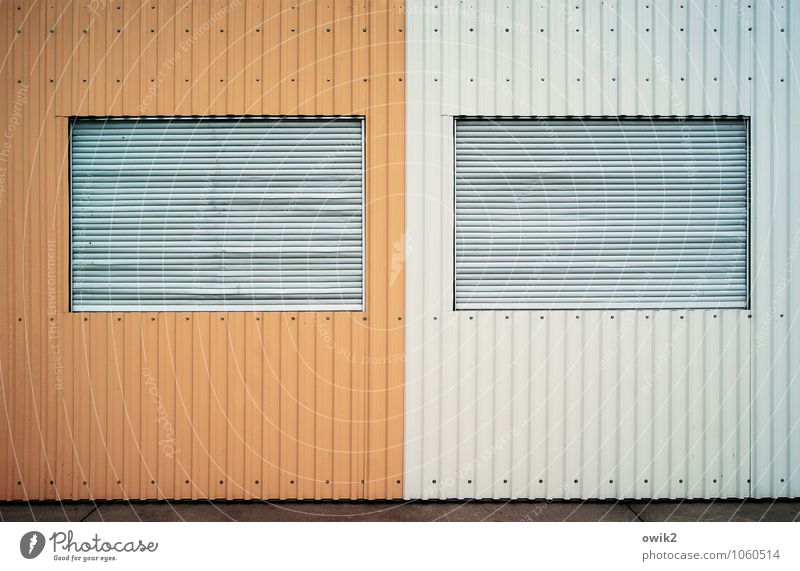 Window Wall (building) Facade Metal Design Gloomy Closed Simple Sharp-edged Container Stagnating Tin Shutter Venetian blinds Abstract Barricaded