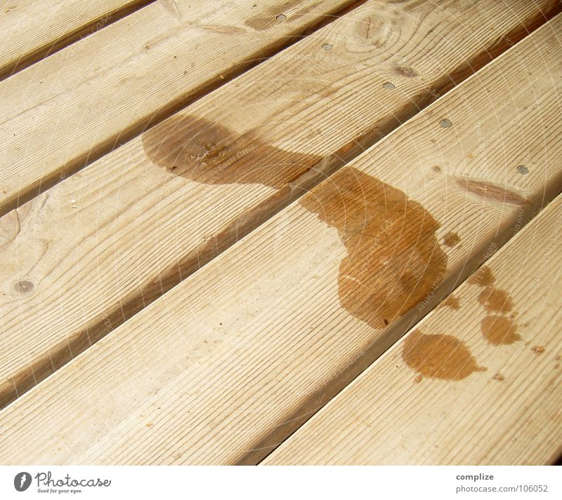 Barefoot on the sauna jetty Summer Water Wood Sign Footprint Large Wet Wooden floor Damp Finland Scandinavia Sole of the foot Tracks Wood grain Wooden board
