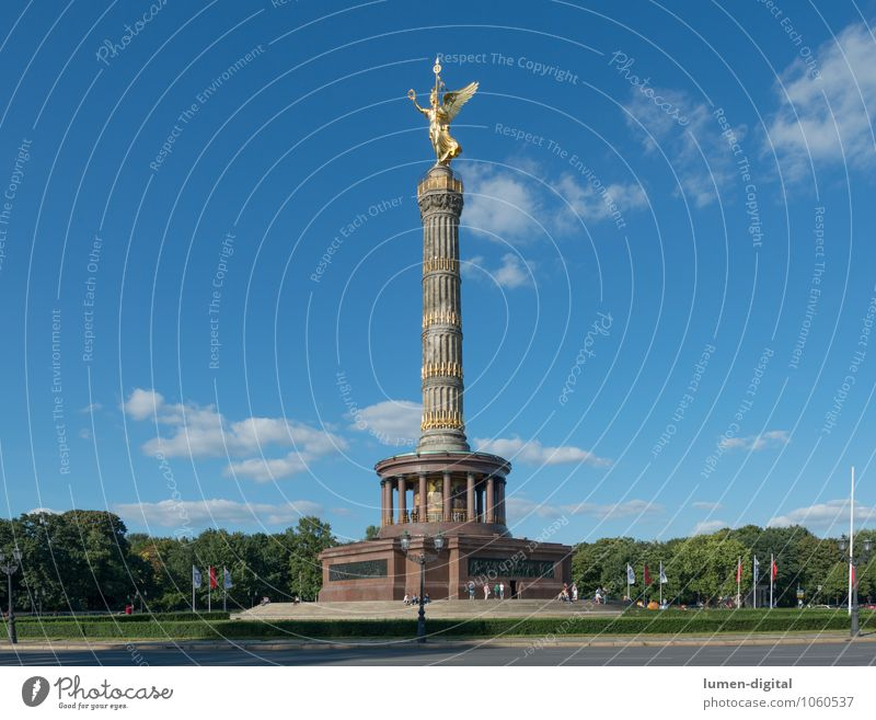 victory column Summer Clouds Park Berlin Germany Europe Capital city Tourist Attraction Monument Victory column Road junction Success Goldelse victory statue