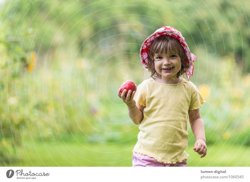 Girl with apple Fruit Apple Nutrition Joy Face Summer Child Human being Toddler 1 1 - 3 years Hat Laughter Happiness Fresh Small Infancy Apple tree Bite Eating