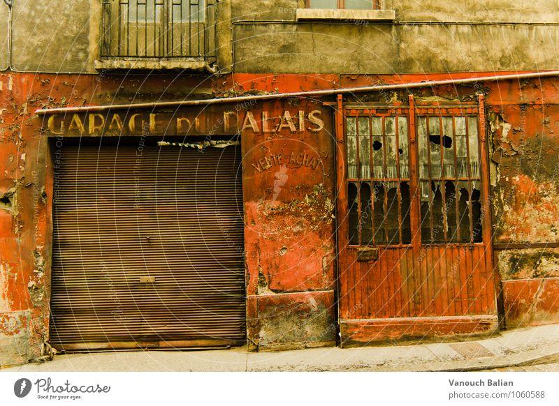 Garage du Palais Town Wall (barrier) Wall (building) Facade Historic Broken Garage door Vintage France Lyon Old Old town Red Beige Going Plaster Rendered facade