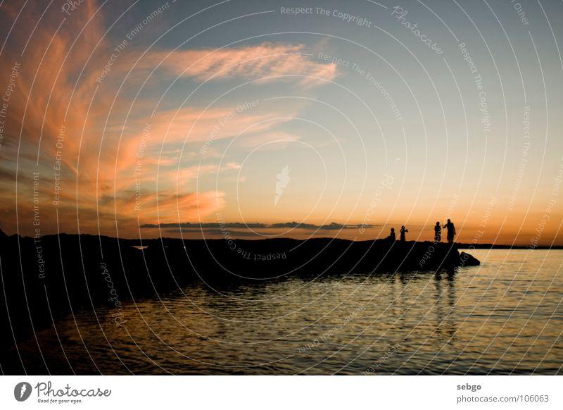 Human being Water Sky Sun Ocean Blue Summer Beach Clouds Dark Orange Coast Horizon Dusk Croatia