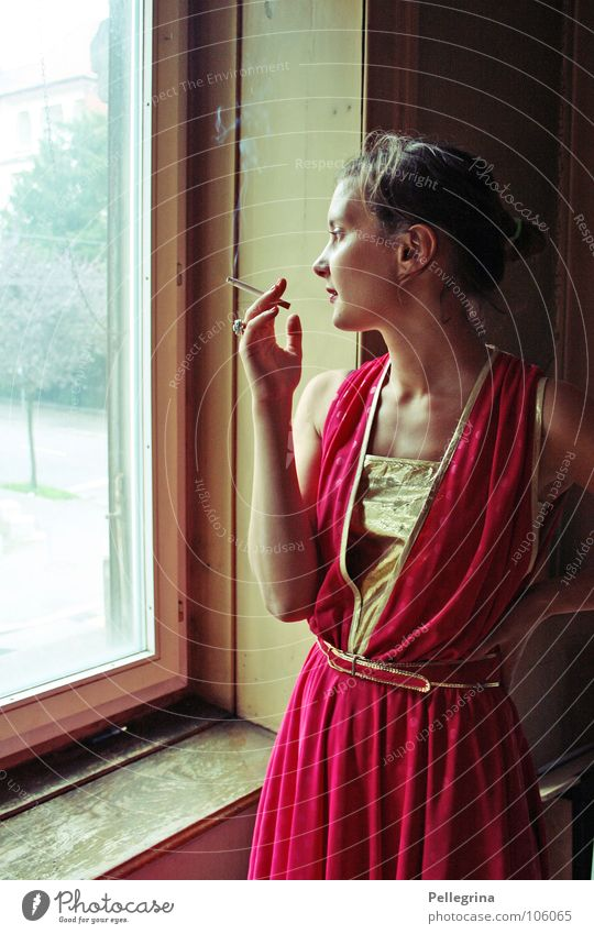 smoking area Lady Young lady Woman Diva Window Cigarette Dreamily Red Dress Longing Wanderlust Thought Smoking Gold Frame