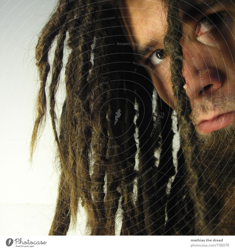 Mathias The Dread IX Dreadlocks Felt Long Dark Upper body Upper arm Vessel Man Masculine Strong Threat Shoulder Concealed Nerviness Visual spectacle Shadow play