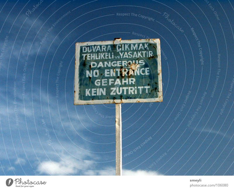 Sky Green Blue Signs and labeling Dangerous Threat Signage Respect Warning label Turkey Warning sign