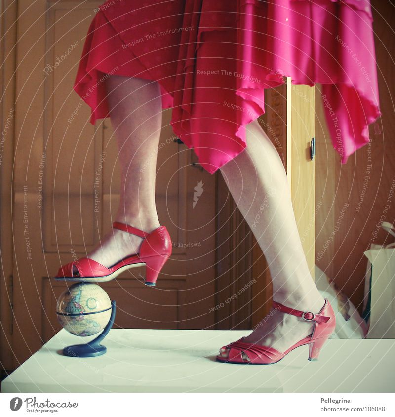 Woman Red Vacation & Travel Dream Earth Legs Feet Door Footwear Room Dress Sphere Lady Map Globe Landing