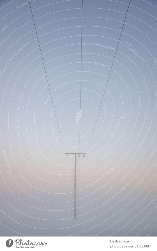 streamlines Energy industry Electricity pylon High voltage power line Landscape Earth Air Sky Winter Fog Snow Wire Line Esthetic Bright Blue Moody Horizon