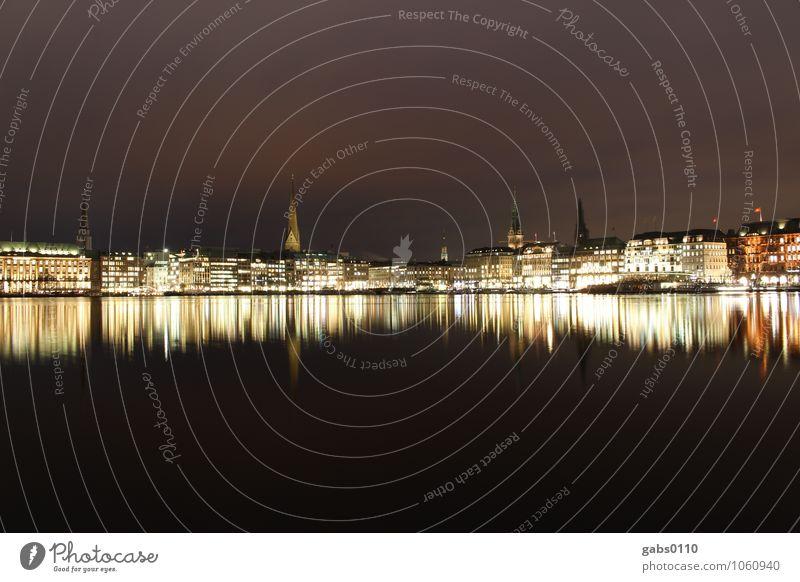 Sky Water White Clouds Calm Dark Black Yellow Building Horizon Tourism Hamburg Go under Church spire Alster Hanseatic City