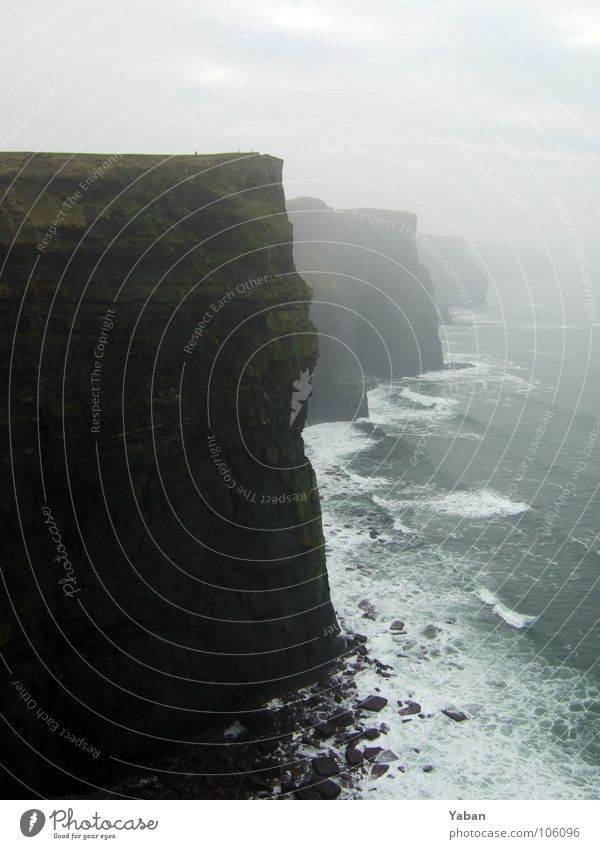 Cliffs of Moher Atlantic Ocean Edge Fog Waves White crest Foam Europe Beach Coast Transience Ireland West Coast Rock cliffs Green Island Wind I am small