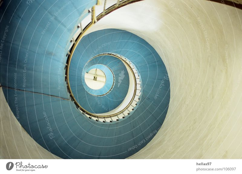 White Stairs Monument Landmark Lighthouse Handrail Snail Denmark Light blue Winding staircase