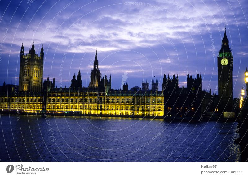 houses of parliament London Themse Big Ben Houses of Parliament Night Twilight Yellow Violet England Politics and state Landmark Monument River Light Blue