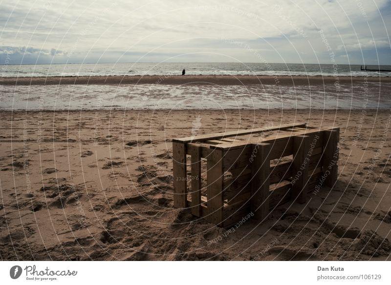 flotsam and jetsam Flotsam and jetsam Beach Ocean Walcheren Zoutelande Zeeland Low tide Footprint Crate Wood Dark Moody Dirty Clouds To go for a walk Horizontal