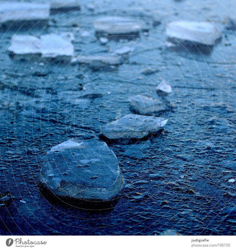 Blue Winter Cold Ice Part Frozen Broken Pond Puddle Smoothness Frozen surface Aggregate state