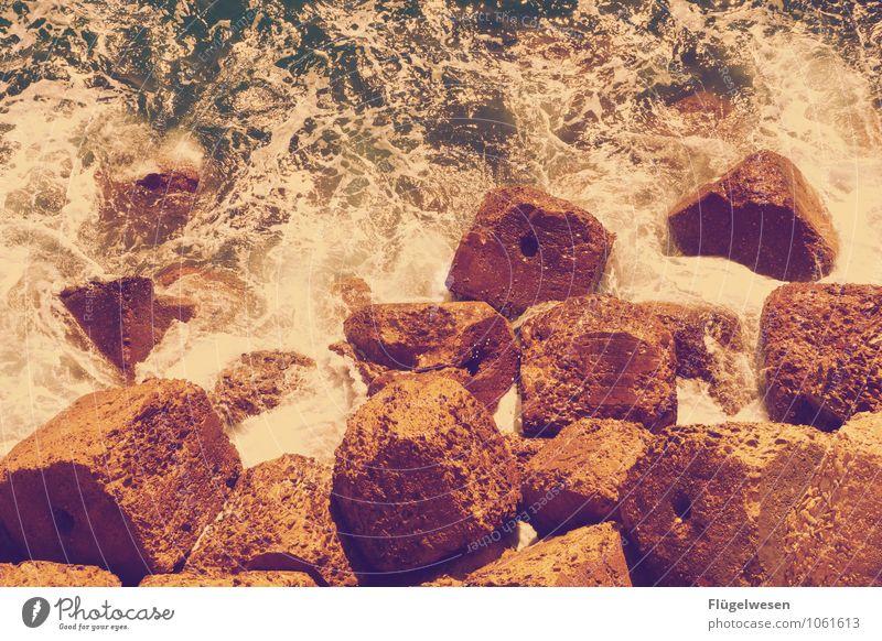chunks Fragment Brocken Stone Rock Water Ocean Gale Waves Swell