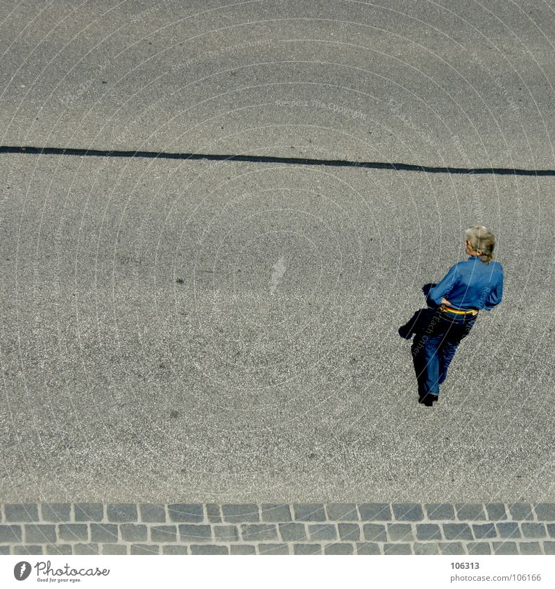 Human being Man Old Blue City Street Gray Hair and hairstyles Style Stone Perspective Future Stripe Observe Asphalt Dresden