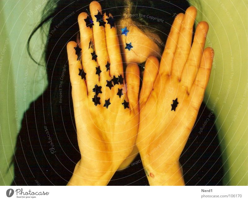 Woman Hand Blue Beautiful Glittering Star (Symbol) Decoration Hide Facial expression Magic Embellish Partially visible Mistrust Enchanting Glimmer