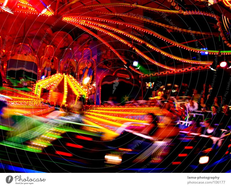 Joy Movement Lighting Feasts & Celebrations Infancy Speed Action Fairs & Carnivals Rotate Dynamics Curve Neon light Oktoberfest Swing Carousel Rotation
