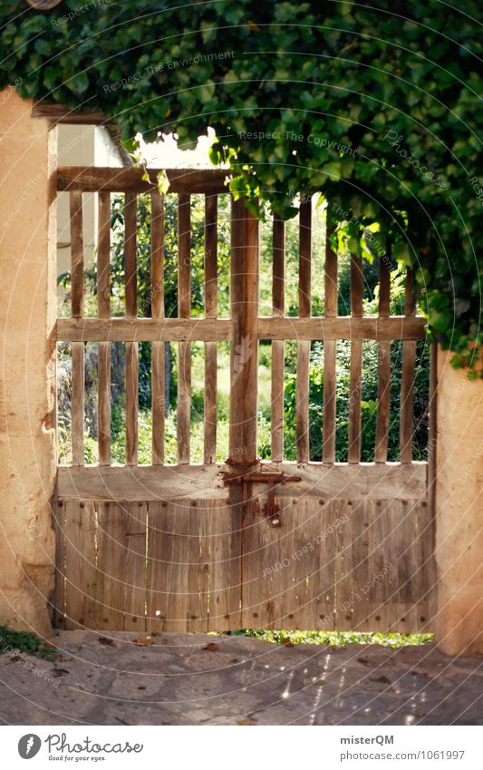 Hoftor. Village Small Town Esthetic Gate Archway Wooden gate Closed Valldemossa Spain Real estate Boundary line Old Derelict Rustic Colour photo Subdued colour