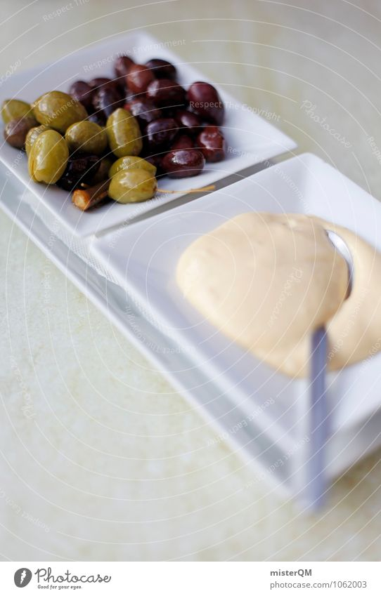 Spanish Food VIII Esthetic Contentment Garlic Olive Snack Snackbar Mediterranean Delicious Part Spoon Plate Colour photo Subdued colour Exterior shot Close-up