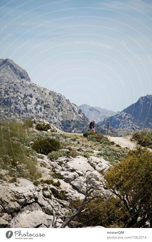 Man Loneliness Far-off places Mountain Lanes & trails Contentment Hiking Esthetic Adventure Peak Spain Majorca Work of art Mountain range Backpacking