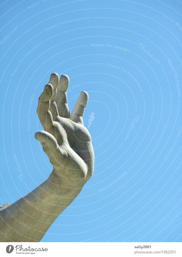 Give me 5... Masculine Arm Hand Fingers Cloudless sky Esthetic Athletic Muscular Statue Work of art Sculpture Wave Stop Hold Palm of the hand Stone Colour photo