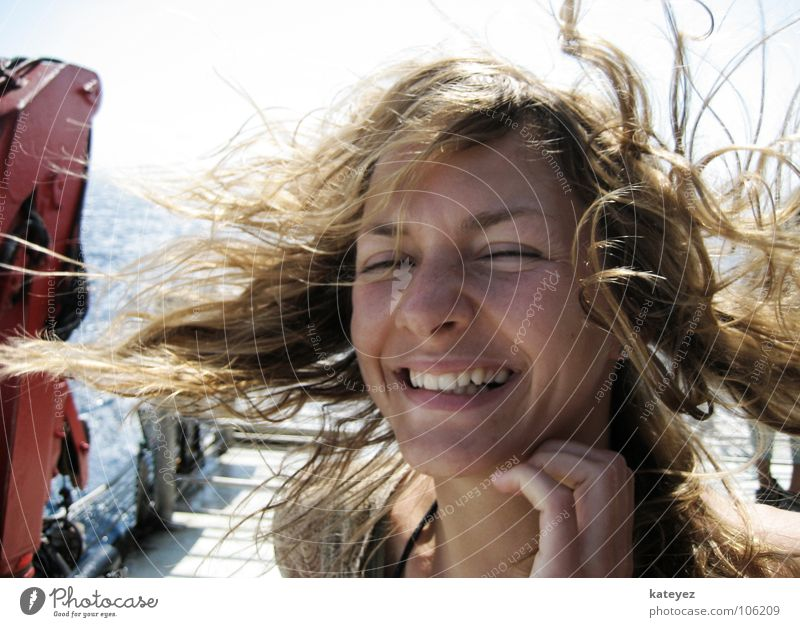 Woman Sun Ocean Blue Summer Joy Vacation & Travel Feminine Laughter Hair and hairstyles Air Wind Happiness Teeth Logistics Watercraft